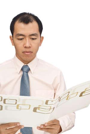 Businessman review data on folder on white background. photo