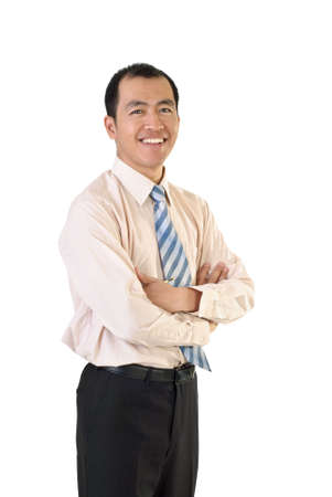 eastern asian: Mature businessman of Asian with happy smiling expression on white background.