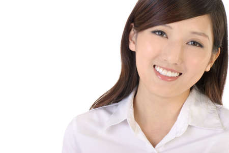 Happy businesswoman of Asian smiling expression portrait on white background. Stock Photo