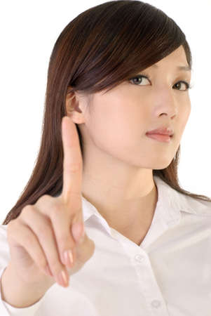 Reject gesture of business woman image on white background. photo