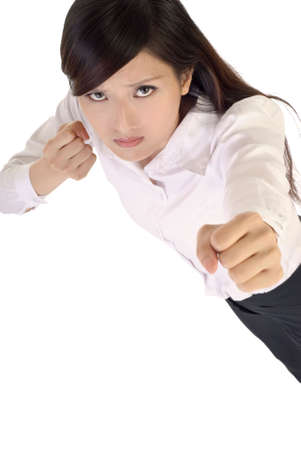 Business woman fighting pose on white background. photo