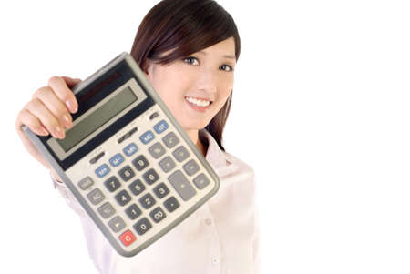 calculator chinese: Business woman holding calculator on white background, focus on face.