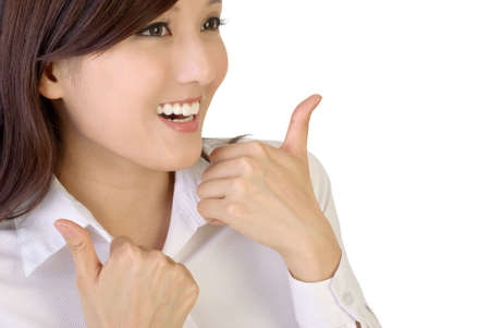 acceptable: Happy smiling businesswoman with gesture on white background. Stock Photo