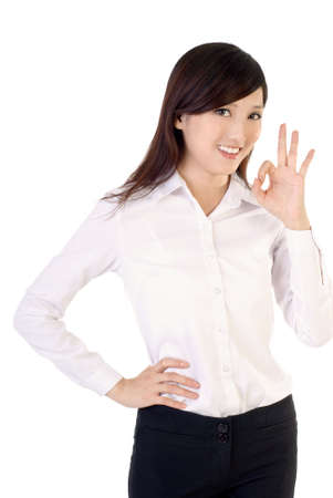 Ok gesture by business woman of Asian on white background. Stock Photo - 6783967