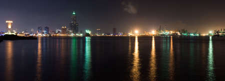 Panorama harbor scenic of city in night with light reflection on ocean in Kaohsiung, Taiwan. Reklamní fotografie