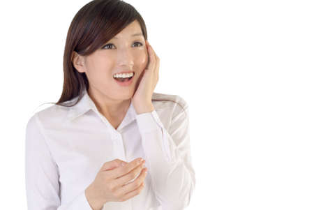 excitation: Business woman of Asian with surprised expression on white background.