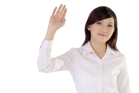 greet: Business woman of Asian raise hand to greet on white background.