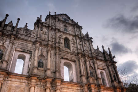 Ruins of St. Pauls, the famous landmark in Macau with color. photo