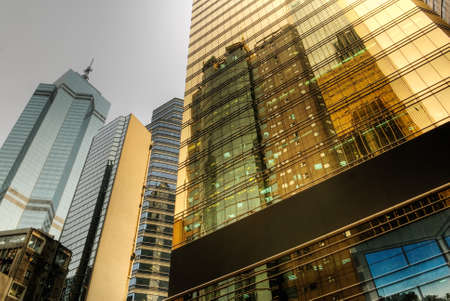 building external: Color business office buildings exterior with glass in day. Stock Photo