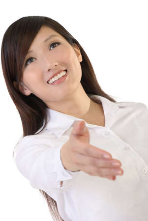 Asian business woman shake hand on white background. Stock Photo - 7005699