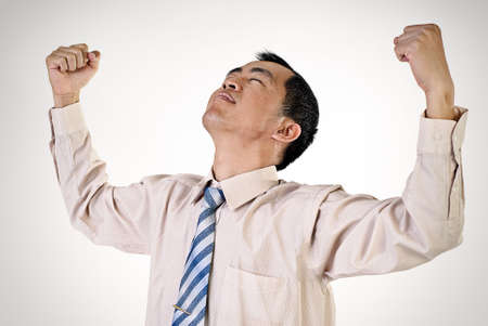 Successful business man portrait with arms open. photo