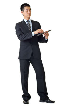 calculator chinese: Young businessman of Asian using Chinese traditional calculator isolated on white background.