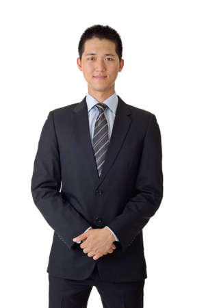cheerful businessman: Portrait of Asian young business man on white background. Stock Photo