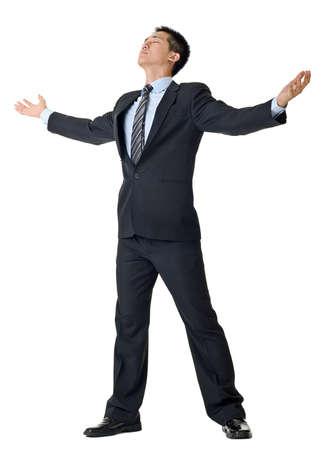 male arm: Brazos abiertos de empresario libre aislados sobre fondo blanco.