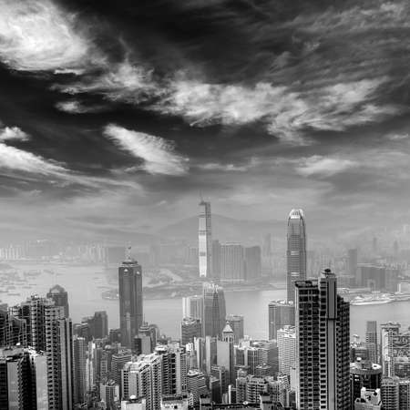 City skyline in Hongkong with black and white tone. photo