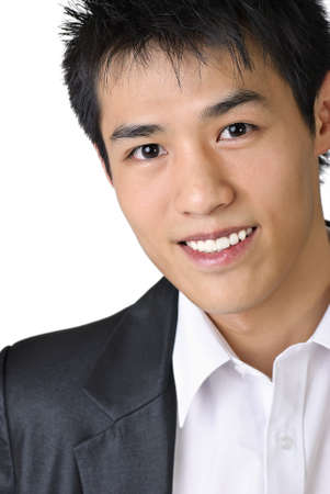 Closeup portrait of smart Asian young business man with smiling. photo