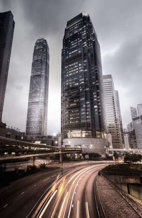 hong kong street: City skyline in Hong Kong, dramatic city night scene in Asia.