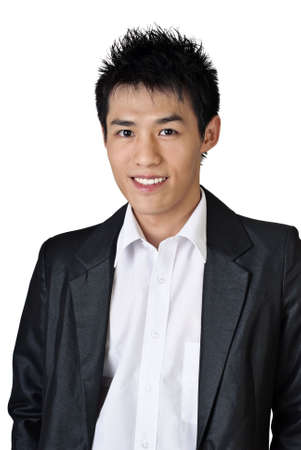 Asian businessman portrait with smiling face on white background. Stock Photo - 7161291