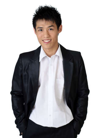 Cheerful Asian young businessman on white background. photo