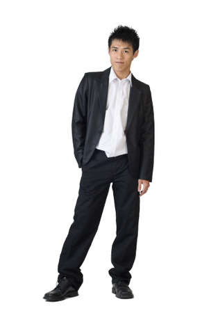 Full body portrait of young business man on white background. photo