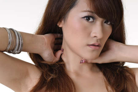 Closeup portrait of modern beauty of Asian. photo