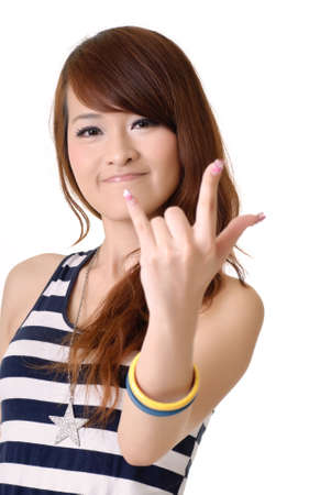 eastern asian: ILY(I Love You) gesture holding by beautiful young lady.