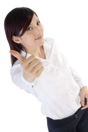 Business woman give you a excellent gesture by thumbs up, portrait on white background.