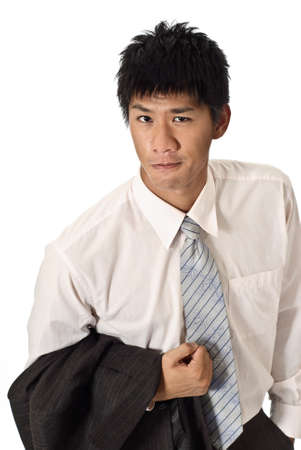 Smart young business man of Asian, closeup portrait on white background. Stock Photo - 7304095