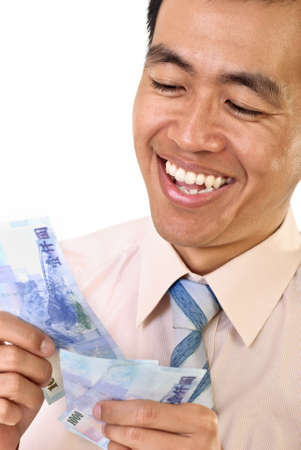 Make money concept of mature business man, closeup portrait with smiling face. Stock Photo - 7304161