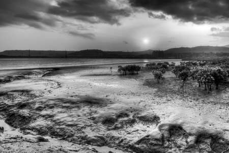 silt: Dramatic sunset scenery with sunshine on silt of river.