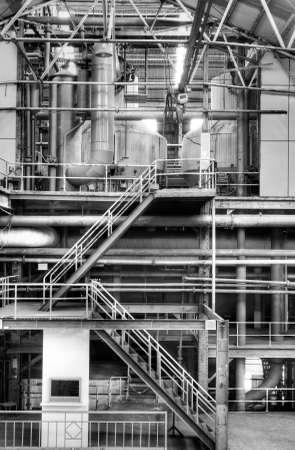 siderurgia: Estructura interior del edificio de la antigua f�brica en blanco y negro.
