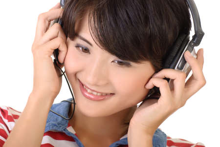 Happy woman with headphones, closeup portrait with smiling expression. photo