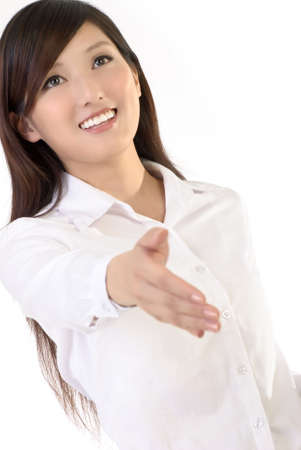 one on one meeting: Shake hand figure of business woman, closeup portrait of oriental office lady on white background.
