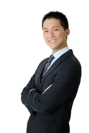 Happy young business man, closeup portrait of Asian with smiling expression on white background.