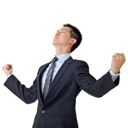 Young Business Man Feel free, Closeup Portrait of Asian auf weißem Hintergrund.