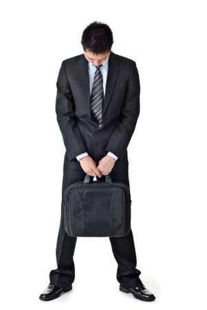 Hombre de negocios triste, retrato de longitud completa aislado fondo blanco.