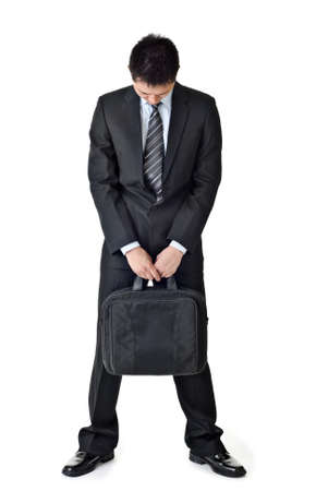 sorry: Sad business man, full length portrait isolated white background. Stock Photo