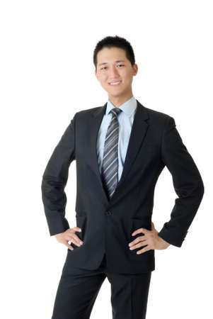 Full length portrait of young business man of Asian on white background. photo