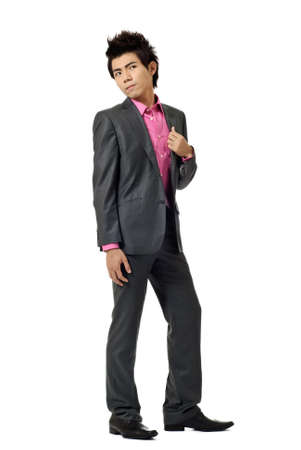Asian modern business man, full length portrait isolated on white background. Stock Photo - 7530060