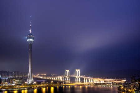 macau: Macao landmark, travel tower in night, cityscape in Macau, China.