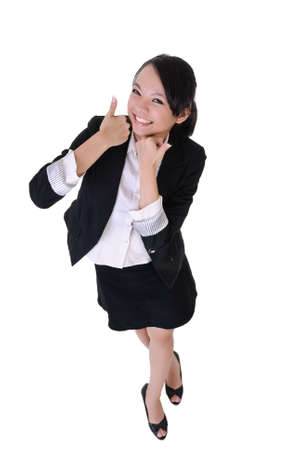 Smiling business woman with excitation expression, full length portrait isolated on white background.