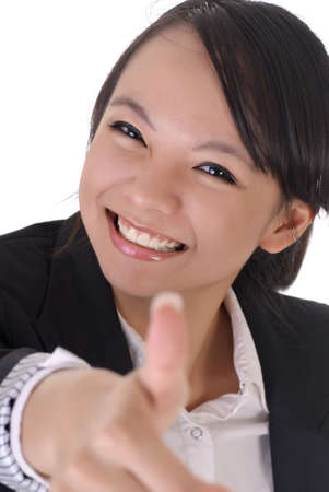 asian office lady: Cute office lady with smiling face give you a excellent sin by thumbs up gesture.