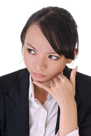 Worried business woman with telephone gesture, closeup portrait on white background. photo