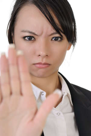 reject: Reject gesture by Asian business woman with confident expression, closeup portrait on white background.