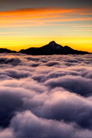 Dramatic clouds in sky in high mountain in Taiwan, Asia. photo