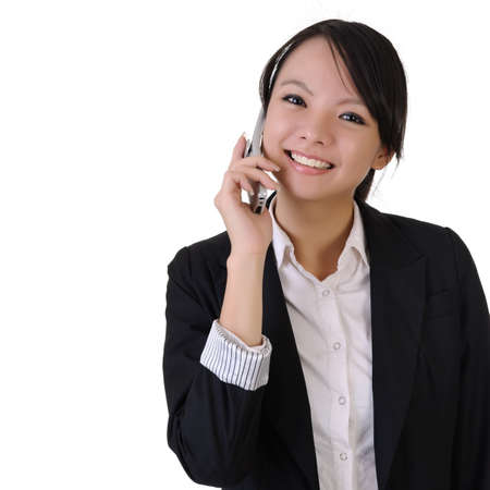 Happy smiling young business woman with cellphone, closeup portrait with copyspace in white. photo
