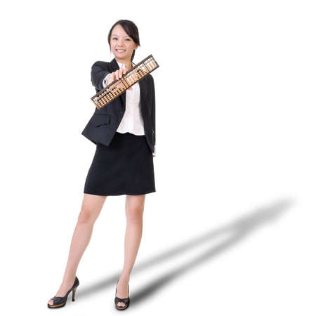 Chinese business lady holding abacus ¡V traditional counting tool ¡V and smiling, full length portrait on white background. Stock Photo - 7702389