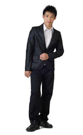 Handsome full body portrait  standing on white background. photo
