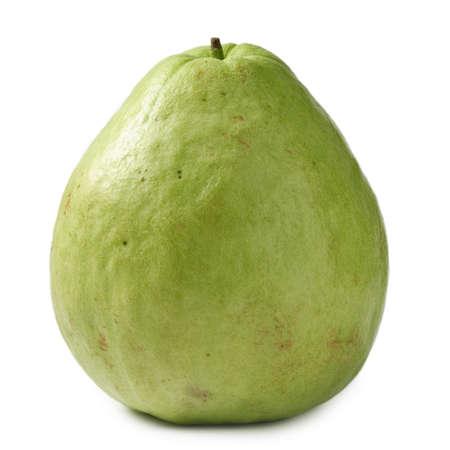 guava: Guava, single fruit isolated on white background. Stock Photo