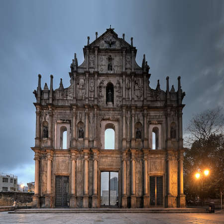 abandonment: Ruins of St. Pauls, the famous landmark in Macau(Macao) in night.